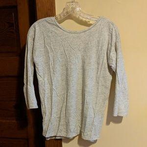 LOFT tan scoop back 3/4 sleeve shirt